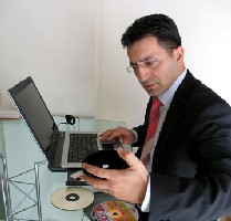 Man using computer at desk